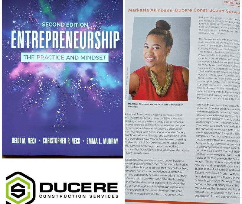 Ducere Construction Services Featured in Entrepreneurship Textbook